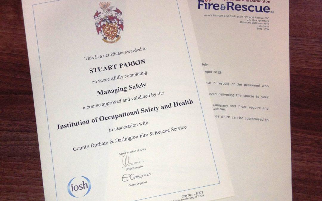 Production Supervisor passes IOSH Managing Safely qualification