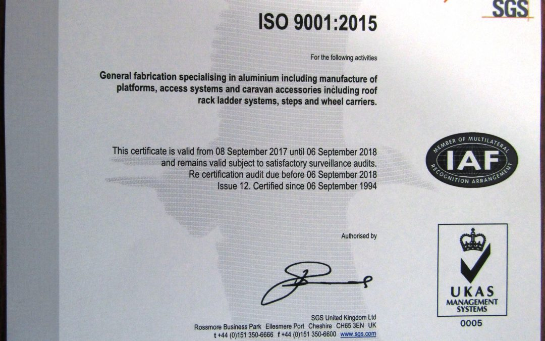 ISO9001:2015 achieved